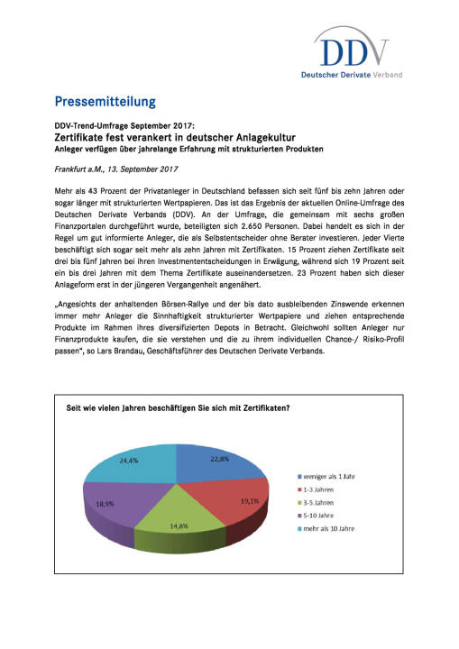 DDV Umfrage: Zertifikate fest verankert in deutscher Anlagekultur, Seite 1/2, komplettes Dokument unter http://boerse-social.com/static/uploads/file_2337_ddv_umfrage_zertifikate_fest_verankert_in_deutscher_anlagekultur.pdf