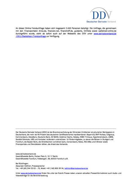 DDV Umfrage: Zertifikate fest verankert in deutscher Anlagekultur, Seite 2/2, komplettes Dokument unter http://boerse-social.com/static/uploads/file_2337_ddv_umfrage_zertifikate_fest_verankert_in_deutscher_anlagekultur.pdf (13.09.2017)