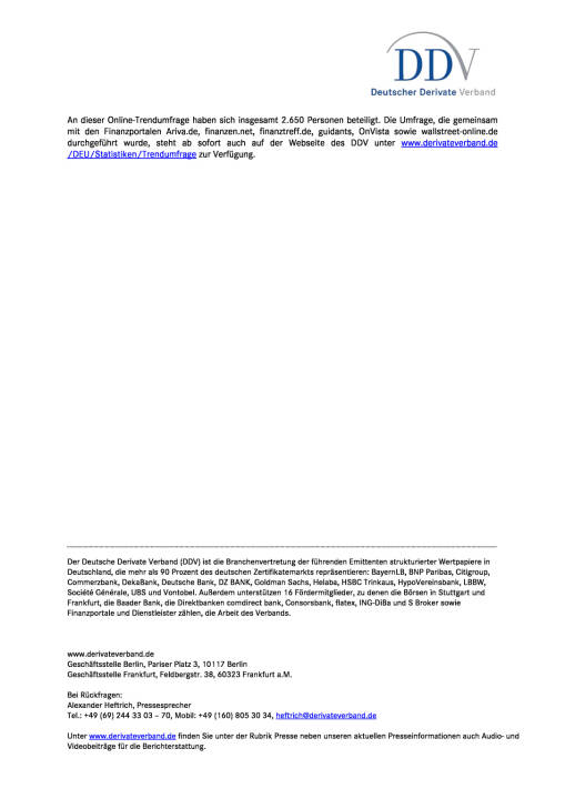 DDV Umfrage: Zertifikate fest verankert in deutscher Anlagekultur, Seite 2/2, komplettes Dokument unter http://boerse-social.com/static/uploads/file_2337_ddv_umfrage_zertifikate_fest_verankert_in_deutscher_anlagekultur.pdf