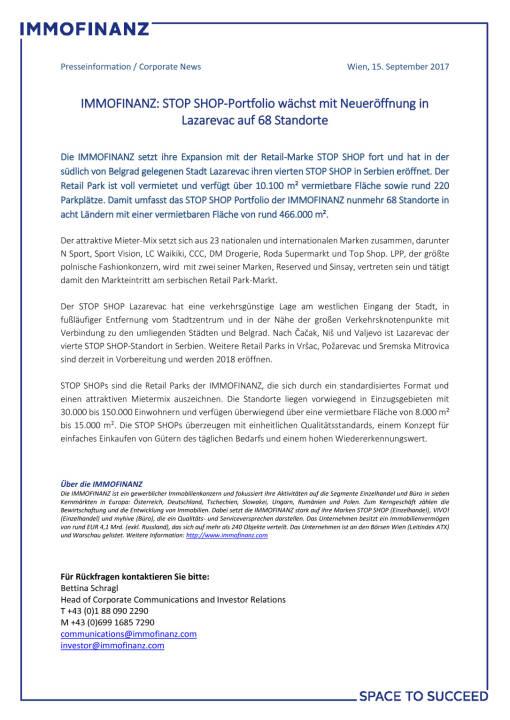 Immofinanz: STOP SHOP-Portfolio wächst mit Neueröffnung in Lazarevac auf 68 Standorte, Seite 1/1, komplettes Dokument unter http://boerse-social.com/static/uploads/file_2338_immofinanz_stop_shop-portfolio_wachst_mit_neueroffnung_in_lazarevac_auf_68_standorte.pdf