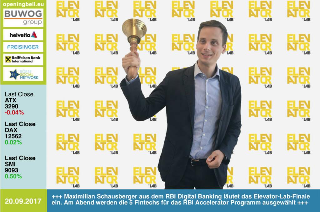 """#openingbell am 20.9.: Maximilian Schausberger aus dem Bereich Digital Banking der RBI läutet die Opening Bell für Mittwoch. Zugleich läutet er das Finale von """"Elevator Lab"""" ein. Heute Abend werden jene 5 Fintechs ausgewählt, die am RBI Accelerator Programm teilnehmen werden http://www.elevator-lab.com https://www.facebook.com/groups/GeldanlageNetwork/ #goboersewien  (20.09.2017)"""