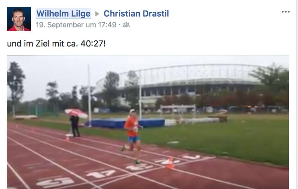 Ehre: Willy Lilge postet meinen Zieleinlauf, Zeit gibts aber 5 Tage später noch keine, © Josef Chladek (24.09.2017)