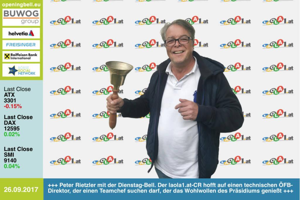 #openingbell am 26.9.: Peter Rietzler läutet die Opening Bell für Dienstag-Bell. Der laola1.at-Chefredakteur freut sich auf einen neuen technischen Direktor im ÖFB, der in der Folge einen ÖFB-Teamchef suchen darf, der dann auch das Wohlwollen des ÖFB-Präsidiums genießt ... http://www.laola1.at https://www.facebook.com/groups/Sportsblogged/