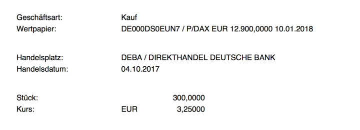 Kauf xMarkets DAX Put Strike 12.900 Jan 2018 für #100100hello #goboersewien