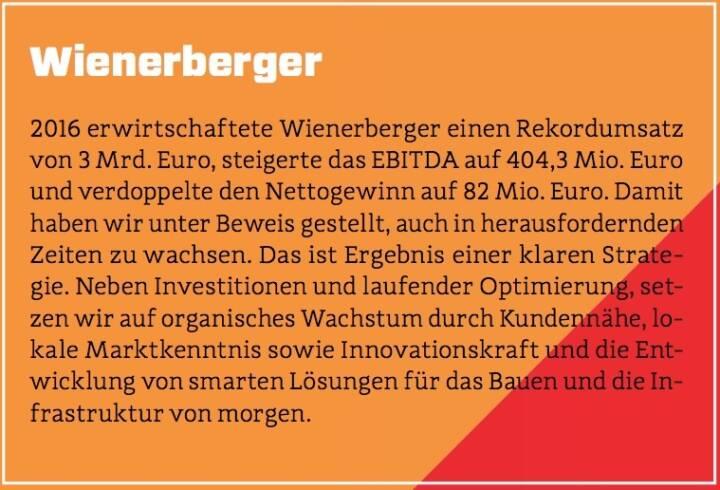 Wienerberger - 2016 erwirtschaftete Wienerberger einen Rekordumsatz von 3 Mrd. Euro, steigerte das EBITDA auf 404,3 Mio. Euro und verdoppelte den Nettogewinn auf 82 Mio. Euro. Damit haben wir unter Beweis gestellt, auch in herausfordernden Zeiten zu wachsen. Das ist Ergebnis einer klaren Strategie. Neben Investitionen und laufender Optimierung, setzen wir auf organisches Wachstum durch Kundennähe, lokale Marktkenntnis sowie Innovationskraft und die Entwicklung von smarten Lösungen für das Bauen und die Infrastruktur von morgen.