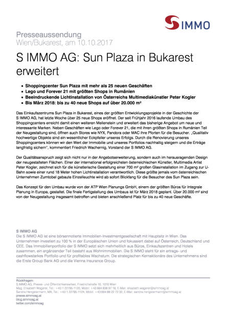 S Immo: Sun Plaza in Bukarest erweitert, Seite 1/1, komplettes Dokument unter http://boerse-social.com/static/uploads/file_2360_s_immo_sun_plaza_in_bukarest_erweitert.pdf (10.10.2017)