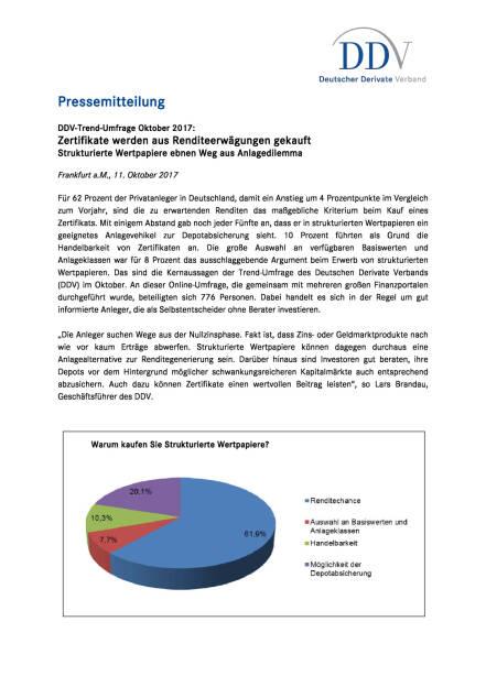 DDV-Umfrage: Zertifikate werden aus Renditeerwägungen gekauft, Seite 1/2, komplettes Dokument unter http://boerse-social.com/static/uploads/file_2361_ddv-umfrage_zertifikate_werden_aus_renditeerwagungen_gekauft.pdf (11.10.2017)
