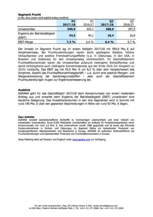 Agrana: Ergebnisse des ersten Halbjahres 2017|18 , Seite 3/3, komplettes Dokument unter http://boerse-social.com/static/uploads/file_2362_agrana_ergebnisse_des_ersten_halbjahres_201718.pdf