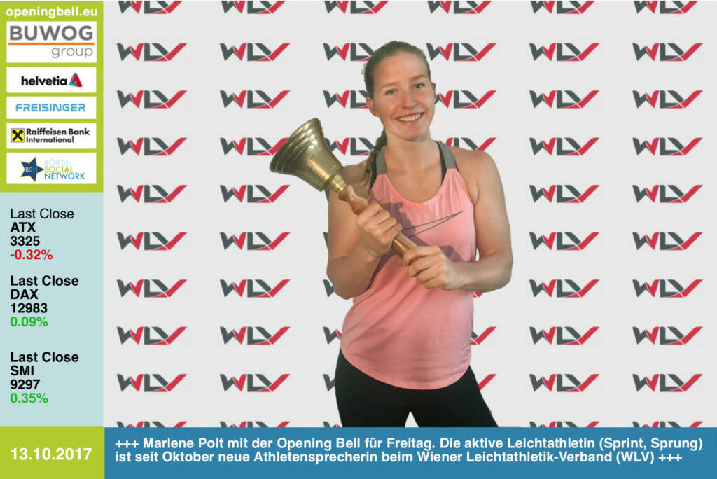 #openingbell am 13.10.: Marlene Polt mit der Opening Bell für Freitag. Die aktive Leichtathletin (Sprint, Sprung) ist seit Oktober neue Athletensprecherin beim Wiener Leichtathletik-Verband (WLV) http://www.wlv.or.at http://www.runplugged.com https://www.facebook.com/groups/Sportsblogged/   (13.10.2017)