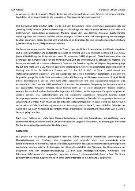 European Lithium: Studie zeigt Technische und wirtschaftliche Tragfähigkeit des Lithiumprojekts Wolfsberg, Seite 2/13, komplettes Dokument unter http://boerse-social.com/static/uploads/file_2367_european_lithium_studie_zeigt_technische_und_wirtschaftliche_tragfahigkeit_des_lithiumprojekts_wolfsberg.pdf (18.10.2017)