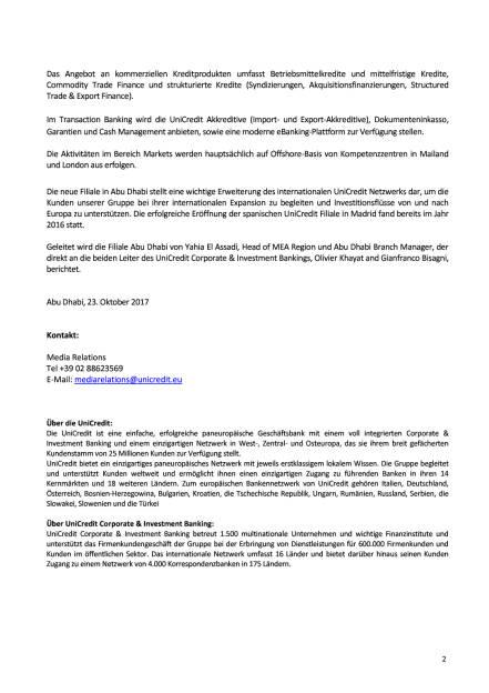 UniCredit eröffnet Filiale in Abu Dhabi, Seite 2/2, komplettes Dokument unter http://boerse-social.com/static/uploads/file_2372_unicredit_eroffnet_filiale_in_abu_dhabi.pdf (23.10.2017)