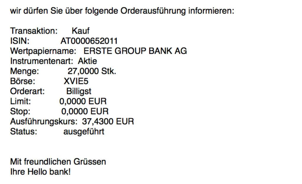 Kauf Erste Group für #100100hello #goboersewien (24.10.2017)
