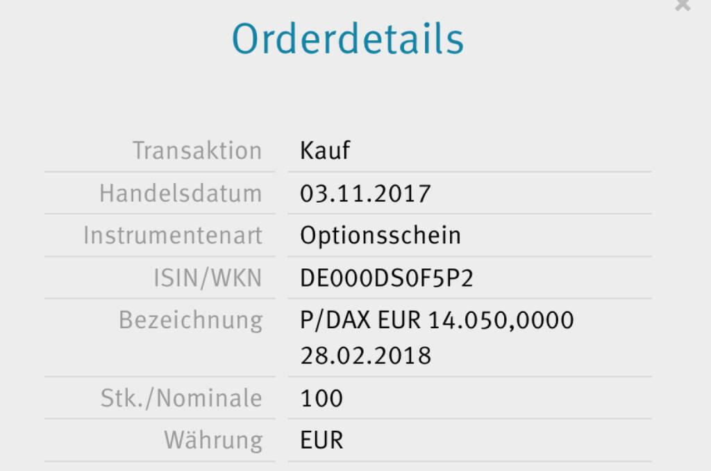 Kauf x-Markets DAX Put 14.050 für #100100hello (03.11.2017)