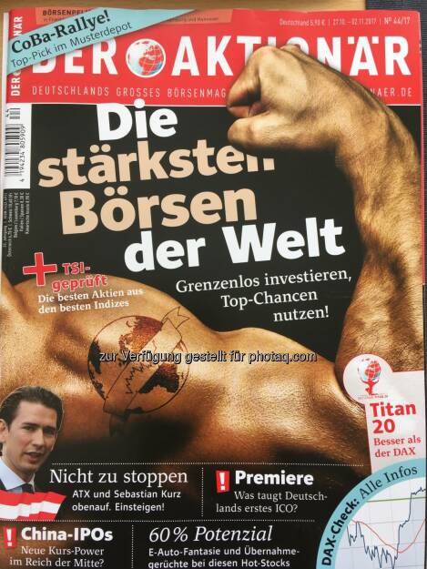 Das aktuelle Cover von Deutschlands grossem Börsenmagazin Der Aktionär (03.11.2017)