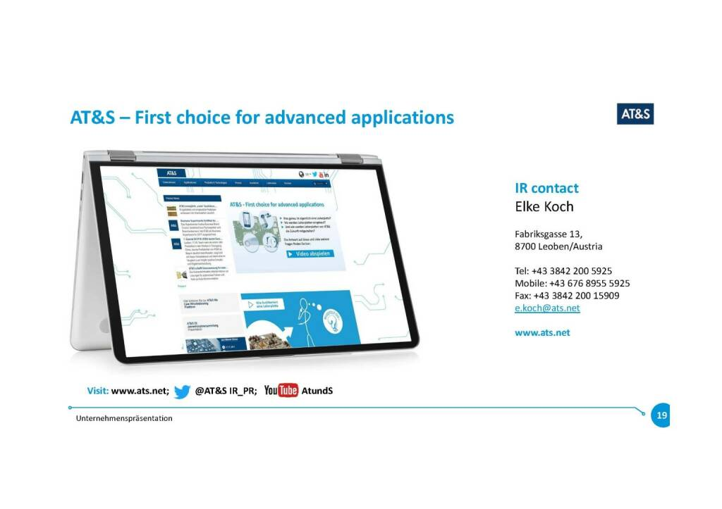Präsentation AT&S - First choice for advanced applications (07.11.2017)
