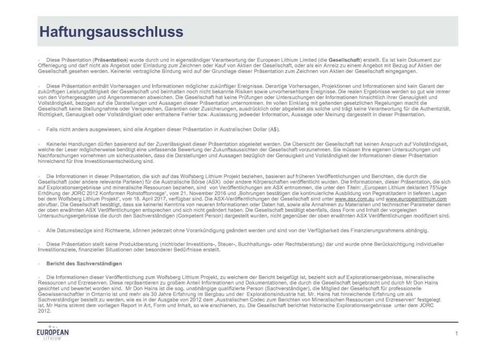Präsentation European Lithium - Haftungsausschluss (07.11.2017)