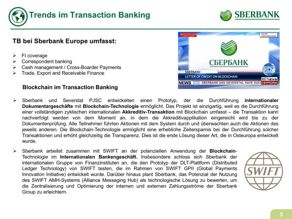 Präsentation Sberbank - Trends im Transaction Banking (07.11.2017)