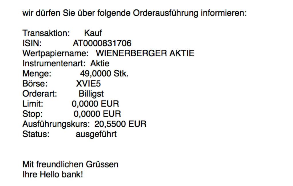Kauf Wienerberger für #100100hello (08.11.2017)