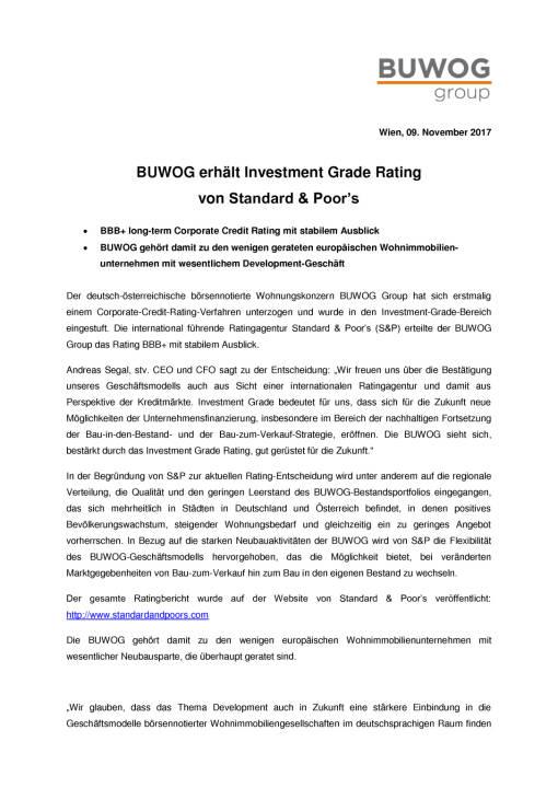 Buwog Group erhält Investment Grade Rating von S&P, Seite 1/2, komplettes Dokument unter http://boerse-social.com/static/uploads/file_2387_buwog_group_erhalt_investment_grade_rating_von_sp.pdf