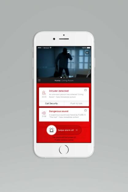 Die BuddyGuard App zeigt eine Warnmeldung: 5 Tipps für mehr Heimsicherheit in der dunklen Jahreszeit; Fotocredit: BuddyGuard (13.11.2017)