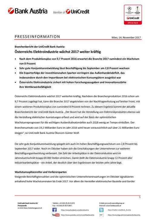 Österreichs Elektroindustrie wächst 2017 weiter kräftig, Seite 1/3, komplettes Dokument unter http://boerse-social.com/static/uploads/file_2391_osterreichs_elektroindustrie_wachst_2017_weiter_kraftig.pdf