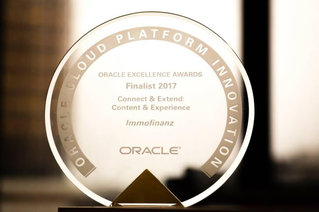 """Die IMMOFINANZ konnte den weltweit ausgelobten und in San Francisco verliehenen """"Oracle Excellence Award"""" in der Kategorie """"Cloud Plattform Innovation"""" ins Haus holen und schaffte es, sich gegen Mitbewerber aus der ganzen Welt erfolgreich durchzusetzen. Credit: Immofinanz, © Aussendung (14.11.2017)"""