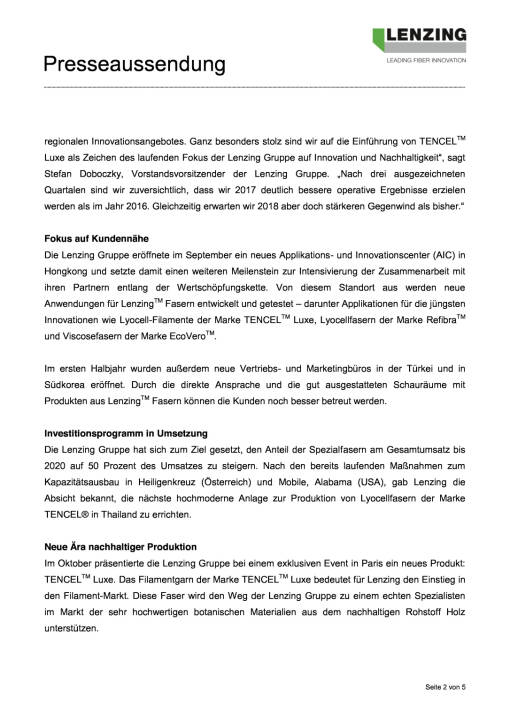 Lenzing Gruppe mit deutlicher Ergebnissteigerung in den ersten neun Monaten 2017, Seite 2/5, komplettes Dokument unter http://boerse-social.com/static/uploads/file_2392_lenzing_gruppe_mit_deutlicher_ergebnissteigerung_in_den_ersten_neun_monaten_2017.pdf