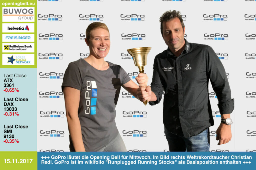 #openingbell am 15.11.: GoPro läutet die Opening Bell für Mittwoch. Im Bild rechts Weltrekordtaucher Christian Redl. GoPro ist im wikifolio Runplugged Running Stocks als Basisposition enthalten https://de.gopro.com https://www.wikifolio.com/de/at/w/wfrunplugd https://www.facebook.com/groups/Sportsblogged/   (15.11.2017)