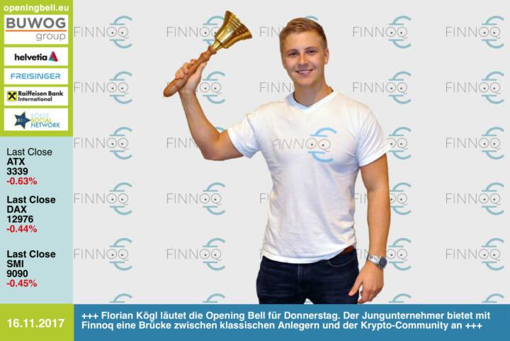 #openingbell am 16.11.: Florian Kögl läutet die Opening Bell für Donnerstag. Der Jungunternehmer bietet mit Finnoq eine Brücke zwischen klassischen Anlegern und der Krypto-Community an https://www.finnoq.com https://www.facebook.com/groups/GeldanlageNetwork/ #goboersewien #bitcoin