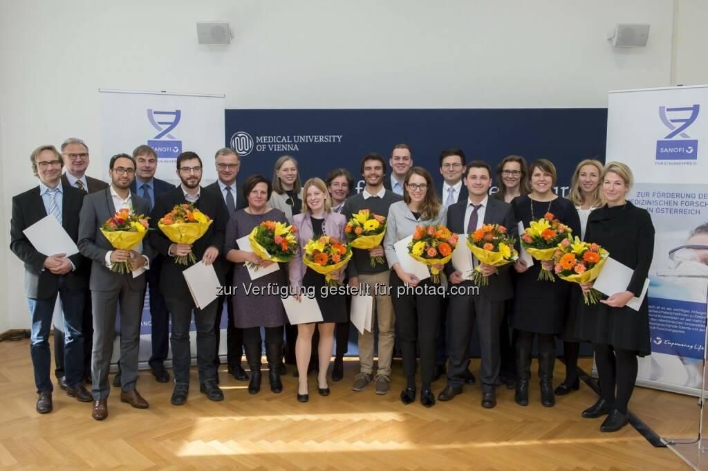 Sanofi Aventis GmbH: Sanofi Forschungspreis 2017 gestiftet: 12 NachwuchsforscherInnen ausgezeichnet (Fotocredit: sanofi-aventis GmbH/APA-Fotoservice/Hörmandinger), © Aussender (21.11.2017)