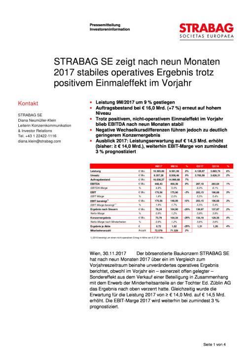 Strabag: Q3 2017, Seite 1/4, komplettes Dokument unter http://boerse-social.com/static/uploads/file_2407_strabag_q3_2017.pdf