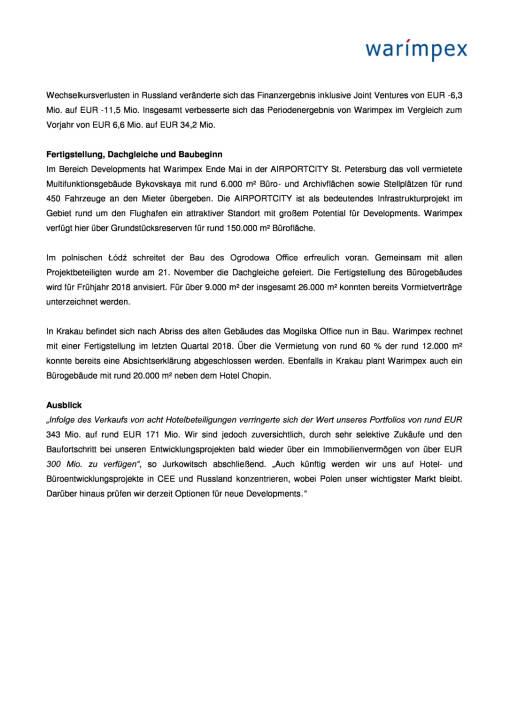 Warimpex: Q3 2017, Seite 2/4, komplettes Dokument unter http://boerse-social.com/static/uploads/file_2408_warimpex_q3_2017.pdf