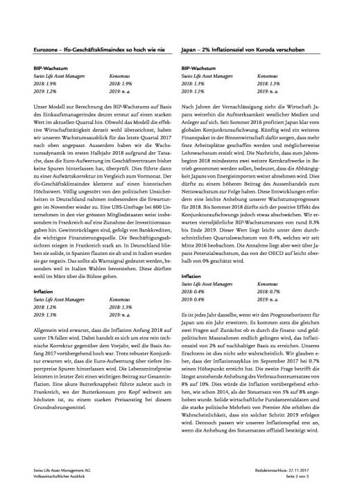 Swiss Life Finanzmarkt- und Volkswirtschaftsausblick 12/2017, Seite 2/6, komplettes Dokument unter http://boerse-social.com/static/uploads/file_2409_swiss_life_finanzmarkt-_und_volkswirtschaftsausblick_122017.pdf