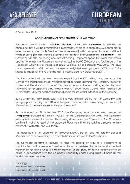 Kapitalerhöhung European Lithium, Seite 1/2, komplettes Dokument unter http://boerse-social.com/static/uploads/file_2410_kapitalerhohung_european_lithium.pdf (06.12.2017)