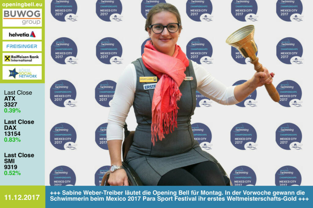 #openingbell am 11.12.: Sabine Weber-Treiber läutet die Opening Bell für Montag. In der Vorwoche gewann die Schwimmerin beim Mexico 2017 Para Sport Festival ihr erstes Weltmeisterschafts-Gold https://www.facebook.com/groups/Sportsblogged/ https://www.facebook.com/webertreiber/ https://www.paralympic.org/mexico-city-2017 (11.12.2017)