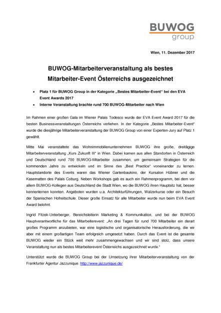 Mitarbeiterevent der BUWOG mit EVA-Award ausgezeichnet, Seite 1/2, komplettes Dokument unter http://boerse-social.com/static/uploads/file_2411_mitarbeiterevent_der_buwog_mit_eva-award_ausgezeichnet.pdf (11.12.2017)