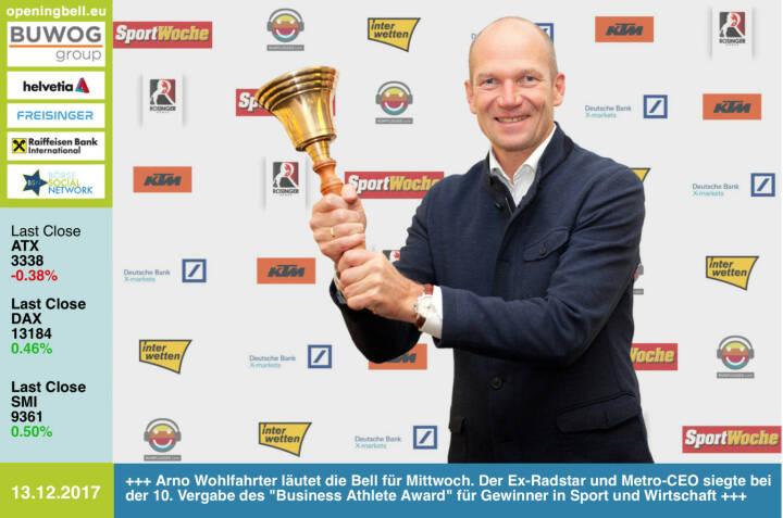 #openingbell am 13.12.:  Arno Wohlfahrter läutet die Opening Bell für Mittwoch. Der Ex-Radstar und Metro-CEO siegte bei der 10. Vergabe des Business Athlete Award für Gewinner in Sport und Wirtschaft. Alle Details, Pressemeldung, Diashow und 29-seitige Sondernummer samt Sport Woche Covergalerie unter http://www.runplugged.com/baa  - https://www.metro.at  http://www.ktm.at https://www.xmarkets.db.com www.rosinger-gruppe.de/ https://www.interwetten.com https://www.facebook.com/groups/GeldanlageNetwork/ #goboersewien https://www.facebook.com/groups/Sportsblogged/