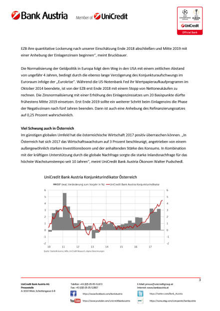 UniCredit Bank Austria Konjunktureinschätzung 2018/19: Wirtschaftswachstum im Jahr 2018 weiterhin sehr solide – zunehmender konjunktureller Gegenwind erst für 2019 erwartet, Seite 3/6, komplettes Dokument unter http://boerse-social.com/static/uploads/file_2412_unicredit_bank_austria_konjunktureinschatzung_201819_wirtschaftswachstum_im_jahr_2018_weiterhin_sehr_solide_zunehmender_konjunktureller_gegenwind_erst_fur_2019_erwartet.pdf (13.12.2017)