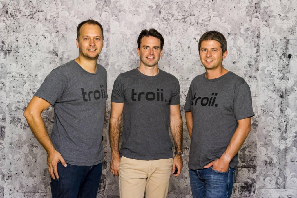 troii Software GmbH: troii Software startet TOUR, die automatische Fahrtenbuch App für Android, Thomas Einwaller, Mario Breid, Wolfgang Brandhuber - Co-Founder der troii Software GmbH, Fotocredit: troii Software GmbH (14.12.2017)