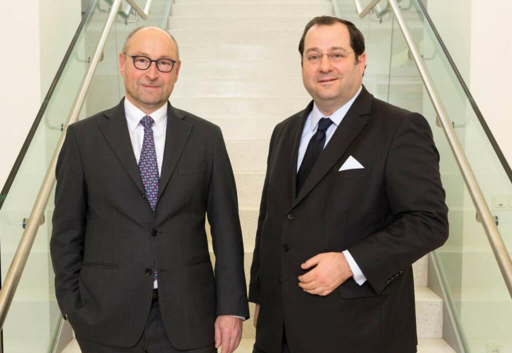Rolf Buch (li), Vorstandsvorsitzender der Vonovia SE, und Daniel Riedl (CEO Buwog), Bild: Vonovia, © Aussendung (18.12.2017)