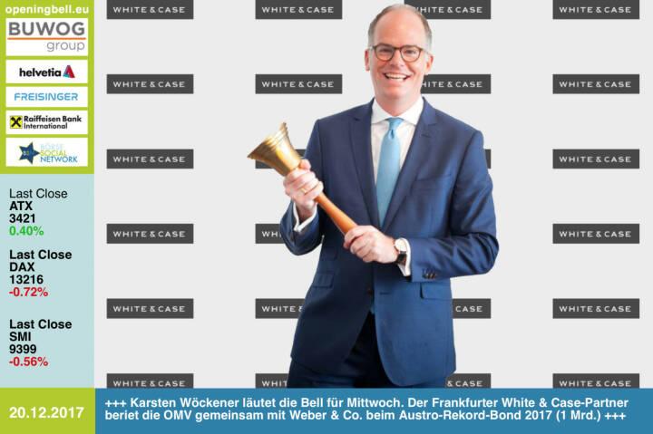 #openingbell am 20.12.: Karsten Wöckener läutet die Opening Bell für Mittwoch. Der Frankfurter White & Case-Partner beriet die OMV gemeinsam mit Weber & Co. beim Austro-Rekord-Bond 2017 (1 Mrd.) http://whitecase.com http://www.weber.co.at/ http://www.omv.com https://www.facebook.com/groups/GeldanlageNetwork/ #goboersewien