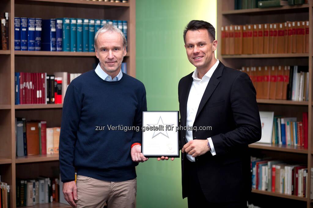 Christian Drastil (BSN), Christoph Boschan (Wiener Börse), © Martina Draper/photaq (29.12.2017)