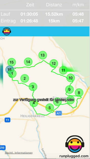Im Wienerwald mit http://www.runplugged.com/app (01.01.2018)