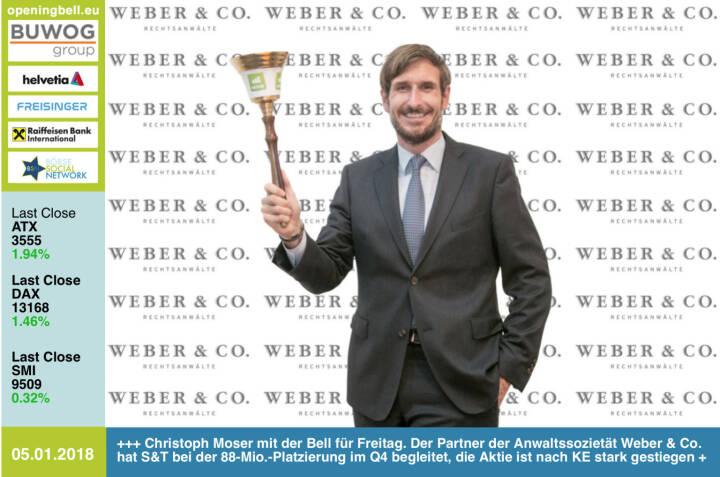 #openingbell am 5.1.: Christoph Moser mit der Opening Bell für Freitag. Der Partner der Anwaltssozietät Weber & Co. hat S&T bei der 88-Mio.-Platzierung im Q4 begleitet, die Aktie ist nach KE stark gestiegen, sieht man auch nicht häufig http://boerse-social.com/launch/aktie/sant http://www.weber.co.at https://www.facebook.com/groups/GeldanlageNetwork/ #goboersewien