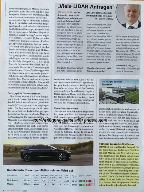 Die o.a. Analyse aus dem Aktionär inkl. meinem Zitat Teil 3. Hier ist auch das neue Tesla Model 3 zu sehen, wovon wir inkl. meinem 3 für unsere Tesla Flotte, bestehend aus aktuell 7 Tesla Model S, reserviert haben -> ETaxiGraz.com  (05.01.2018)