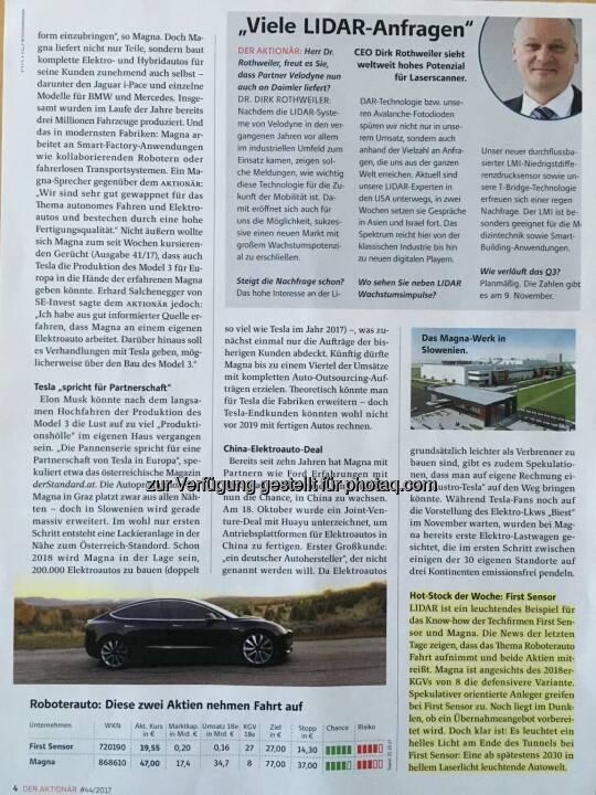 Die o.a. Analyse aus dem Aktionär inkl. meinem Zitat Teil 3. Hier ist auch das neue Tesla Model 3 zu sehen, wovon wir inkl. meinem 3 für unsere Tesla Flotte, bestehend aus aktuell 7 Tesla Model S, reserviert haben -> ETaxiGraz.com