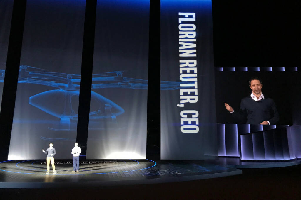 Volocopter bei der Intel Keynote auf der CES 2018, CEO Florian Reuter, Photo: Volocopter (09.01.2018)