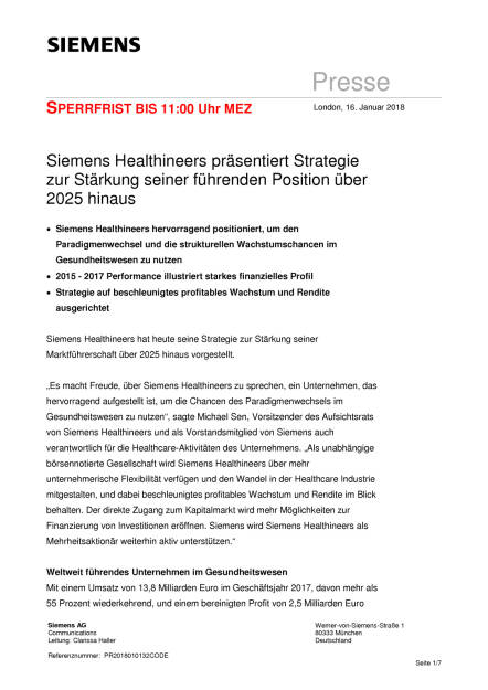 Siemens Healthineers plant IPO, Seite 1/7, komplettes Dokument unter http://boerse-social.com/static/uploads/file_2417_siemens_healthineers_plant_ipo.pdf