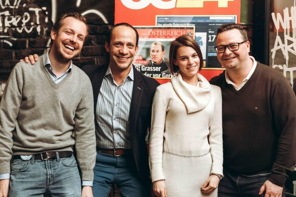 Niki Fellner (OE24), Thomas Bokesz (IPG), Kathrin Hirczy (IPG Mediabrands), Christopher Sima (OE24) (© iab austria/Philipp Lipiarski)
