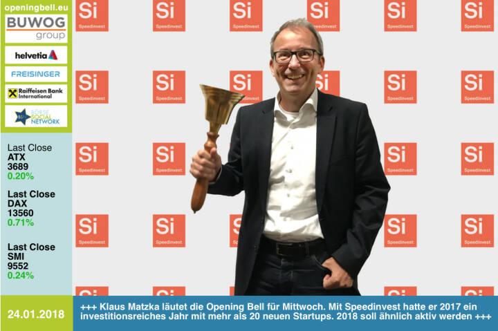 #openingbell am 24.1.: Klaus Matzka läutet die Opening Bell für Mittwoch. Mit Speedinvest hatte er 2017 ein investitionsreiches Jahr mit mehr als 20 neuen Startups. 2018 soll ähnlich aktiv werden http://speedinvest.com https://www.facebook.com/groups/GeldanlageNetwork/ #goboersewien